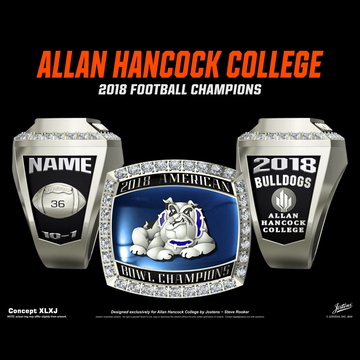 Allan Hancock College Men's Football 2018 American Bowl Championship Ring