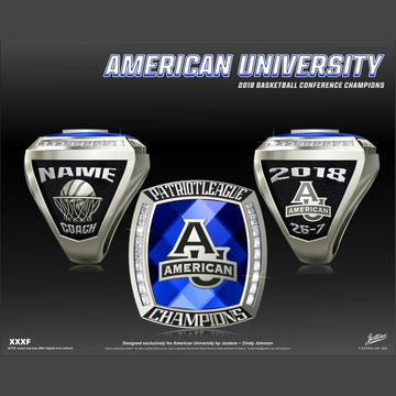 American University Women's Basketball 2018 Patriot League Championship Ring