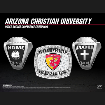 Arizona Christian University Men's Soccer 2018 GSAC Championship Ring