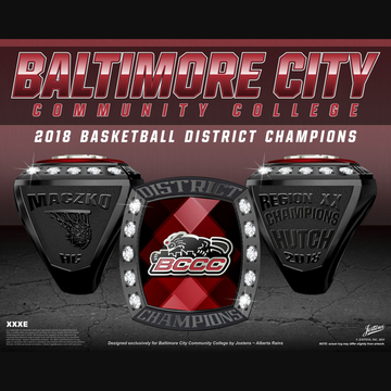 Baltimore City Community College Men's Basketball 2018 District Championship Ring