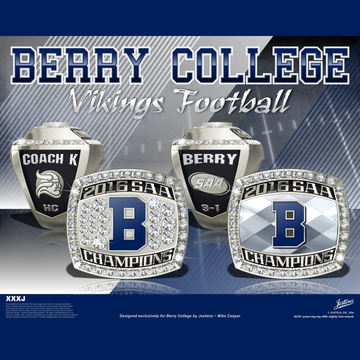 Berry College Men's Football 2016 SAA Championship Ring