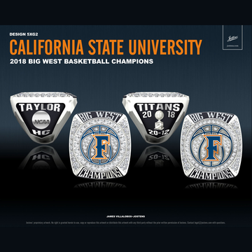 Cal State Fullerton Men's Basketball 2018 Big West Championship Ring