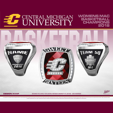 Central Michigan University Women's Basketball 2018 MAC Championship Ring