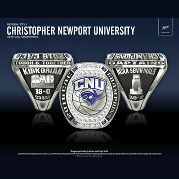 Christopher Newport University Men's Basketball 2016 CAC Championship Ring