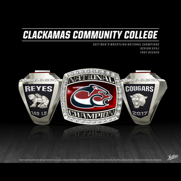 Clackamas Community College Men's Wrestling 2017 National Championship Ring