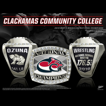 Clackamas Community College Men's Wrestling 2019 National Championship Ring