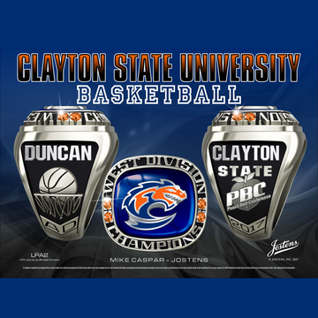 Clayton State University Men's Basketball 2017 Peach Belt Championship Ring