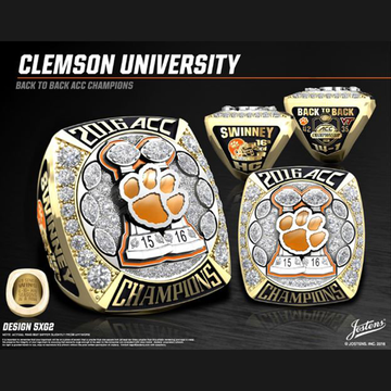 Clemson University Men's Football 2016 ACC Championship Ring