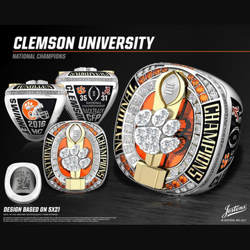 Clemson University Men's Football 2016 National Championship Ring