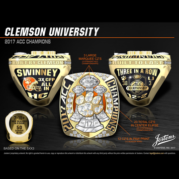 Clemson University Men's Football 2017 ACC Championship Ring