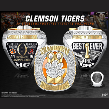 Clemson University Men's Football 2018 National Championship Ring