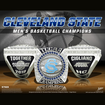 Cleveland State University Men's Basketball 2019 TCCAA Championship Ring