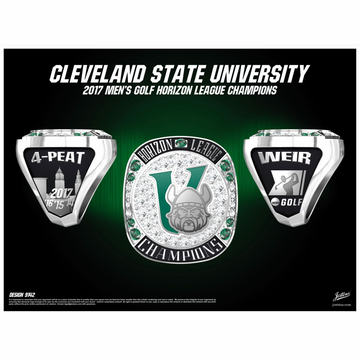 Cleveland State University Men's Golf 2017 Horizon League Championship Ring