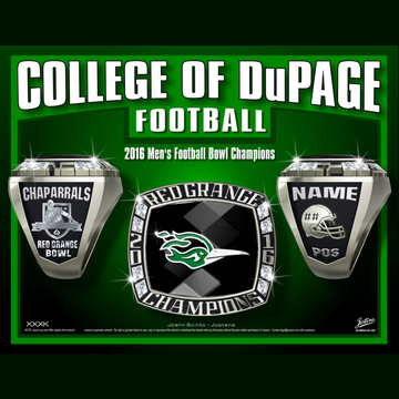 College of Dupage Men's Football 2016 Red Grange Bowl Championship Ring
