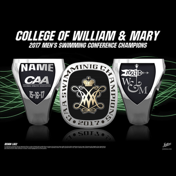 College of William & Mary Men's Swimming & Diving 2017 Conference Championship Ring
