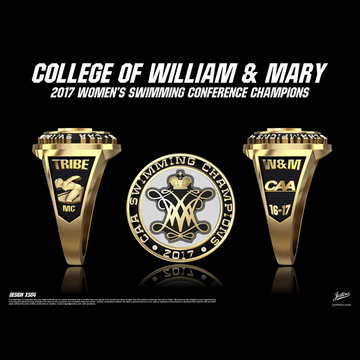 College of William & Mary Women's Swimming & Diving 2017 CAA Championship Ring