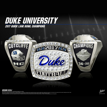 Duke University Men's Football 2017 Quick Lane Bowl Championship Ring