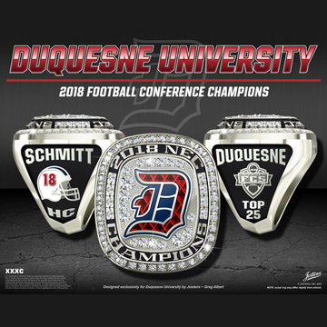 Duquesne University Men's Football 2018 NEC Championship Ring