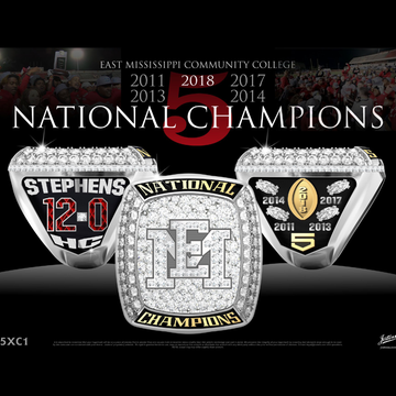 East Mississippi Community College Men's Football 2018 National Championship Ring