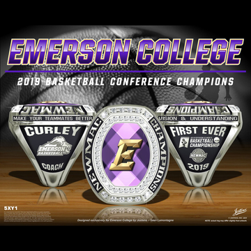 Emerson College Men's Basketball 2019 NEWMAC Championship Ring