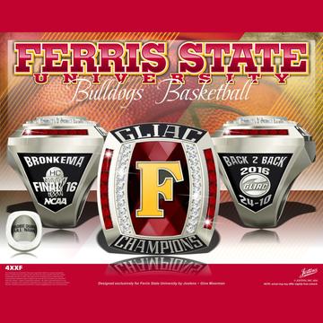 Ferris State University Men's Basketball 2016 GLIAC Championship Ring