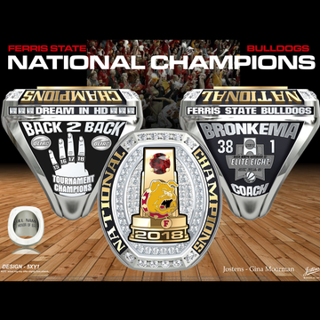Ferris State University Men's Basketball 2018 National Championship Ring