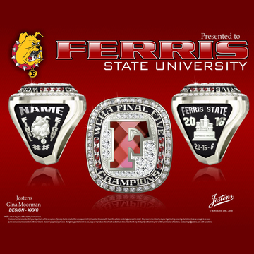 Ferris State University Men's Ice Hockey 2016 WCHA Final Five Championship Ring