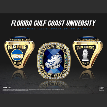 Florida Gulf Coast University Men's Tennis 2017 ASUN Championship Ring