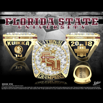 Florida State University Women's Soccer 2018 National Championship Ring