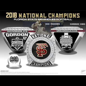 Florida State University Women's Softball 2018 National Championship Ring