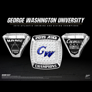 George Washington University Men's Swimming & Diving 2019 A-10 Championship Ring