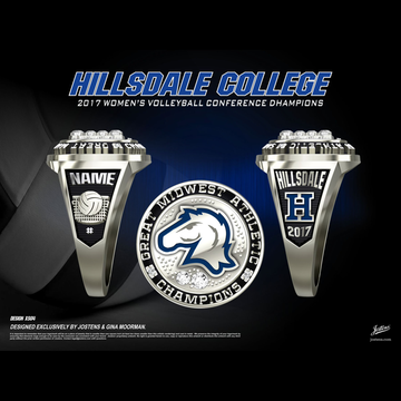 Hillsdale College Women's Volleyball 2017 G-MAC Championship Ring