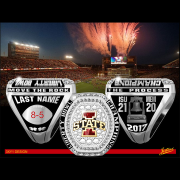 Iowa State University Men's Football 2017 Liberty Bowl Championship Ring