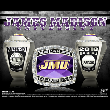 James Madison University Men's Soccer 2018 CAA Championship Ring