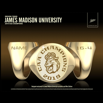 James Madison University Women's Lacrosse 2019 CAA Championship Ring
