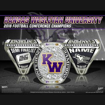 Kansas Wesleyan University Men's Football 2018 Conference Championship Ring