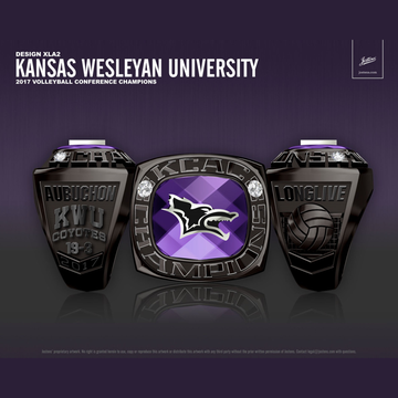 Kansas Wesleyan University Women's Volleyball 2017 KCAC Championship Ring
