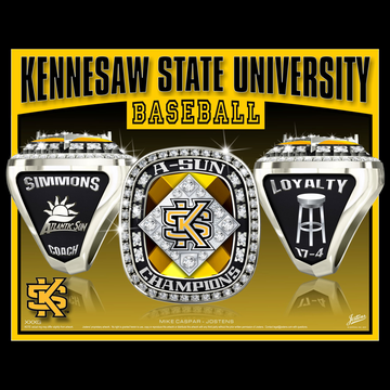 Kennesaw State University Men's Baseball 2016 Atlantic Sun Championship Ring
