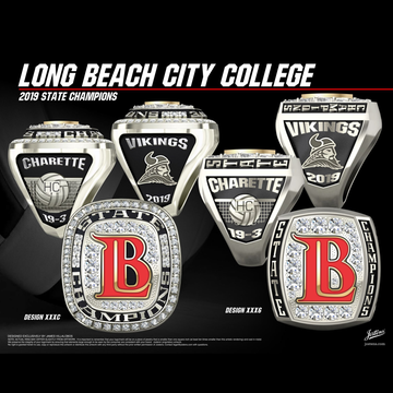 Long Beach City College Men's Volleyball 2019 CCCAA State Championship Ring