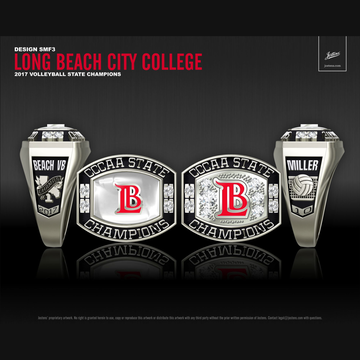 Long Beach City College Women's Beach Volleyball 2017 CCCAA State Championship Ring