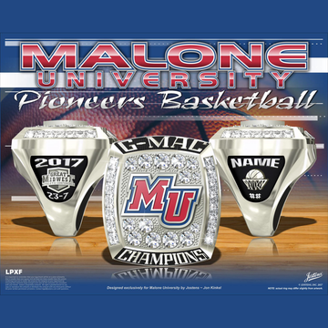 Malone University Women's Basketball 2017 G-MAC Championship Ring