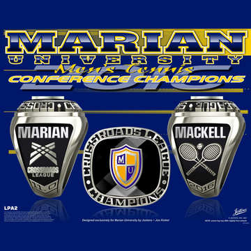 Marian University Men's Tennis 2016 Crossroads League Championship Ring