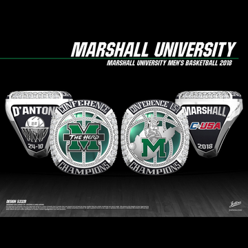 Marshall University Men's Basketball 2018 Conference USA Championship Ring