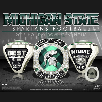 Michigan State University Men's Football 2017 Holiday Bowl Championship Ring