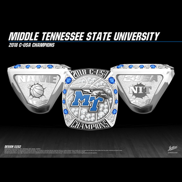 Middle Tennessee State University Men's Basketball 2018 Conference USA Championship Ring