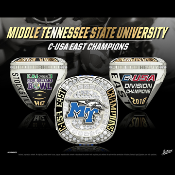 Middle Tennessee State University Men's Football 2018 C-USA East Championship Ring