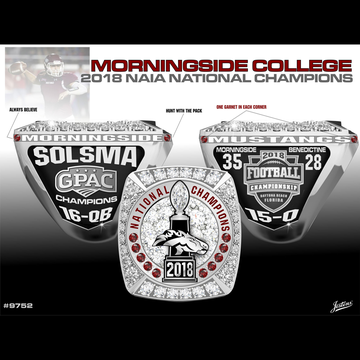 Morningside College Men's Football 2018 National Championship Ring