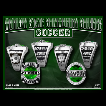 Motlow State Community College Women's Soccer 2018 TCCAA Championship Ring