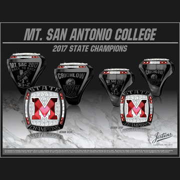 Mount San Antonio College Women's Basketball 2017 CCCAA State Championship Ring