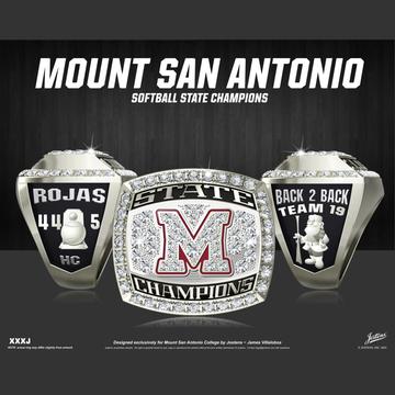 Mount San Antonio College Women's Softball 2019 CCCAA State Championship Ring